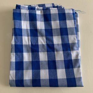 One yard of blue gingham fabric